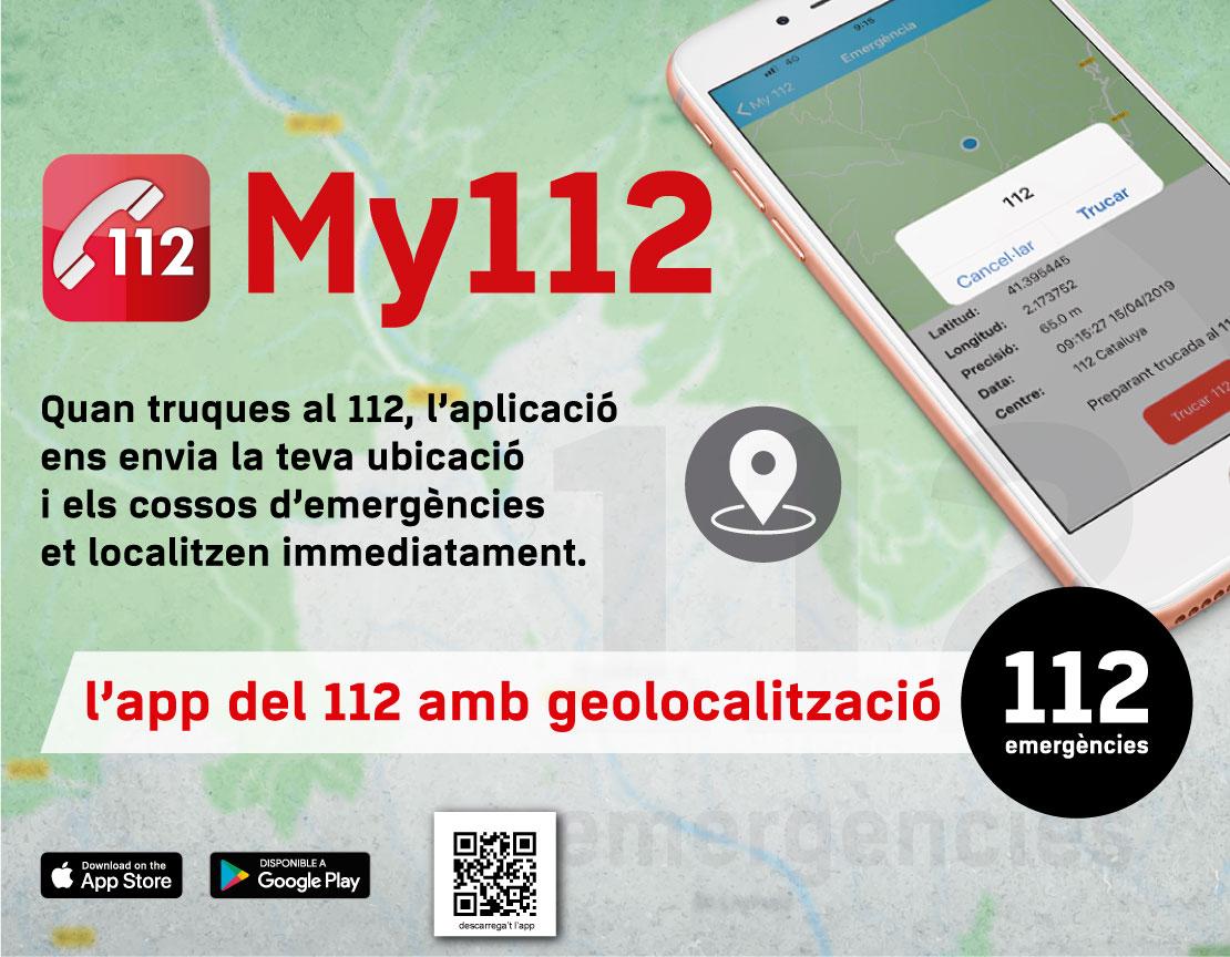 App My112 amb geolocalització. Quan truques al 112, l'aplicació envia la teva ubicació i et localitzem immediatament.
